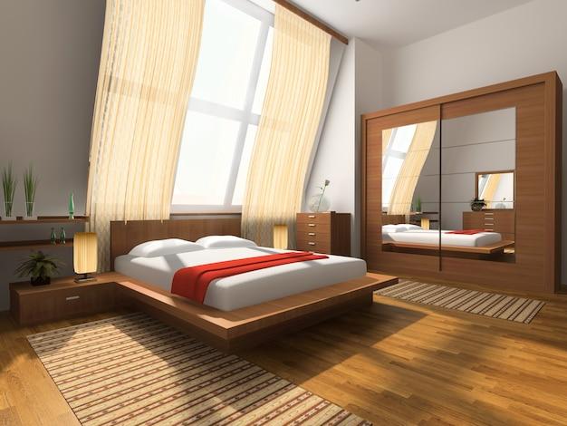 Interior design di un'elegante camera da letto