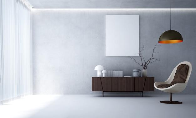 Interior design moderno del salone loft e fondo bianco della parete del modello di cemento