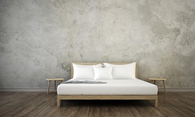 Interior design moderno della camera da letto del soppalco e fondo concreto bianco della parete del modello