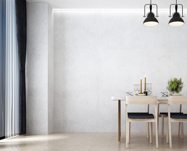 Interior design moderno della sala da pranzo del loft e fondo bianco della parete del modello di cemento