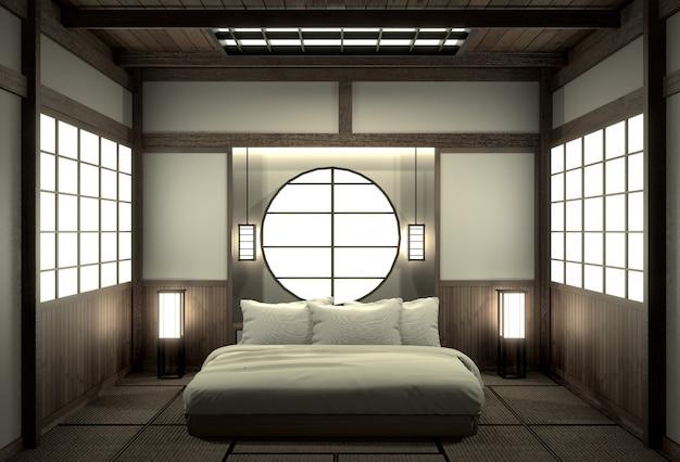 Interior design moderno di camera da letto di zen con stile giapponese della decorazione.