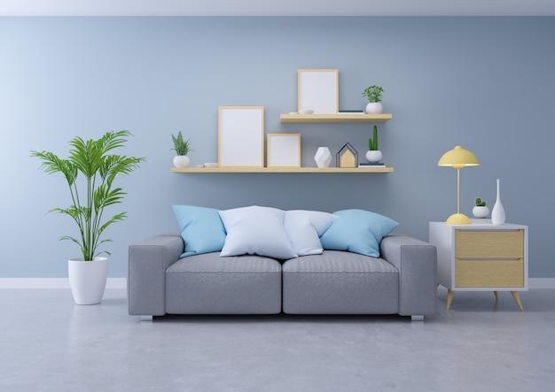 Interior design moderno di soggiorno, divano grigio su pavimento in cemento e parete blu