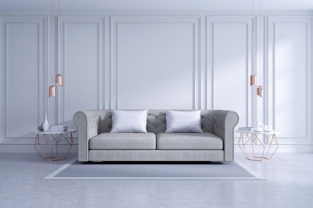 Interior design moderno e classico, bianco e accogliente concetto di camera