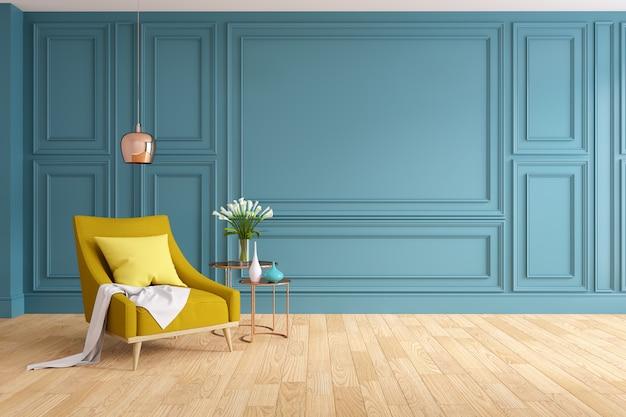 Interior design moderno e classico del salone, poltrona gialla con woodfloor e parete blu, rappresentazione 3d