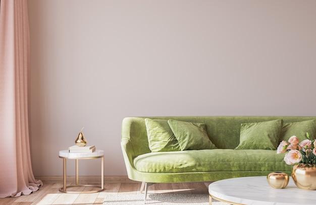 Interior design per soggiorno di lusso con eleganti accessori per la casa