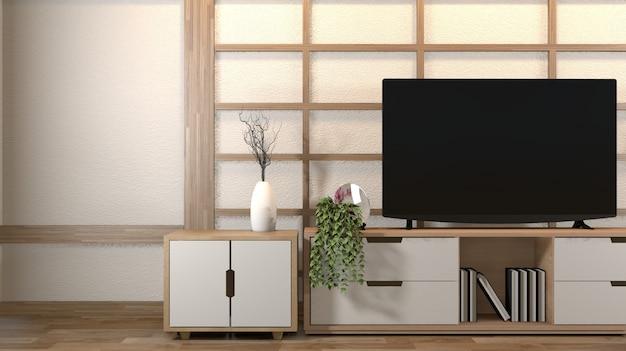Interior design, soggiorno moderno con smart tv, tavolo, lampada, pavimento in legno e muro bianco