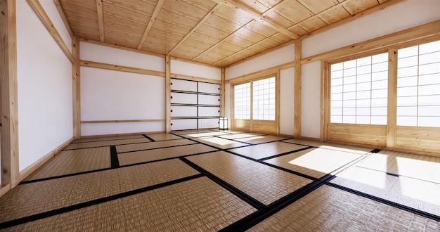 Interior design, soggiorno moderno con tatami mat e tradizionale porta giapponese sulla migliore vista della finestra. rendering 3d