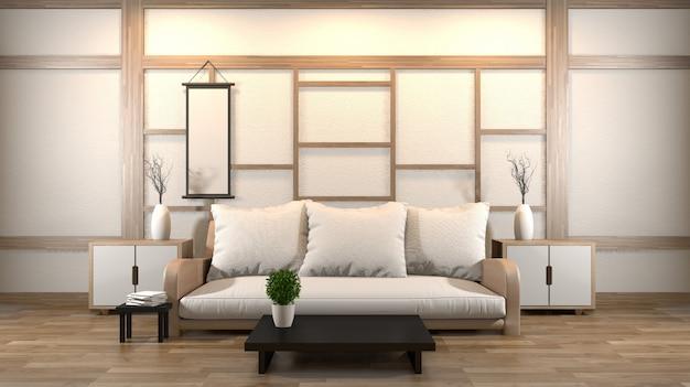 Interior design soggiorno zen con tavolo basso, cuscino, struttura, lampada su pavimento in legno