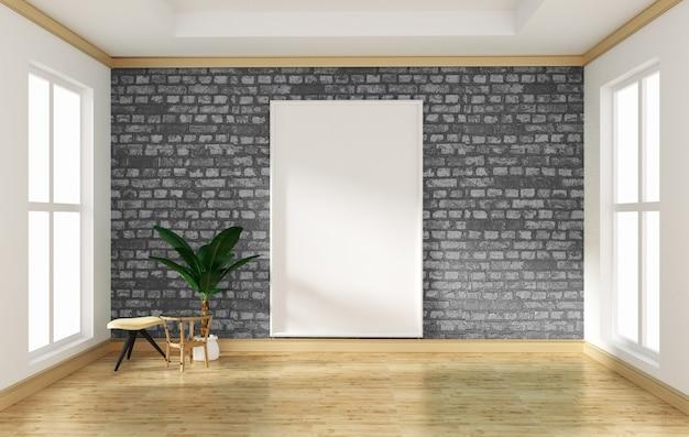 Interior design stanza vuota grigio muro di mattoni e pavimento in legno mock up. rendering 3d
