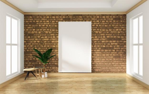 Interior design stanza vuota muro di mattoni gialli e pavimento in legno mock up. rendering 3d