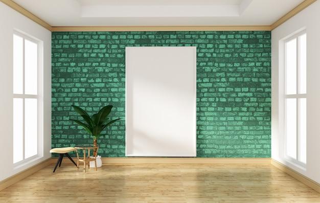 Interior design stanza vuota verde muro di mattoni e pavimento in legno mock up. rendering 3d