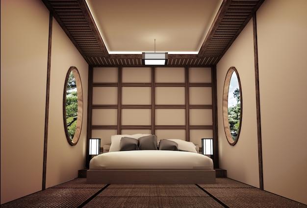 Interior design tradizionale camera da letto in stile giapponese .3d rendering