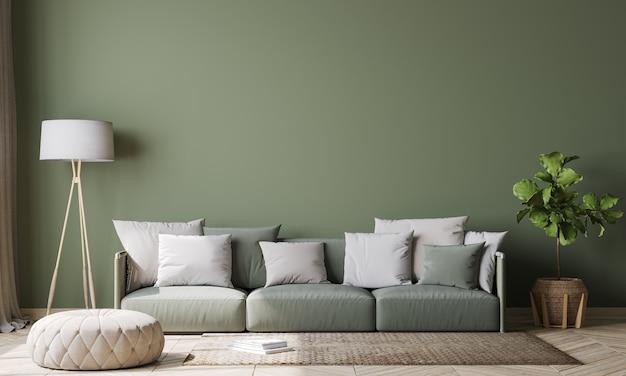 Interior design verde vuoto della parete in salone moderno, strato verde e stile scandinavo dei cuscini bianchi, rappresentazione 3d