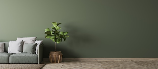 Interior design verde vuoto della parete in salone moderno, strato verde, pianta verde di legno e stile scandinavo dei cuscini bianchi, rappresentazione 3d