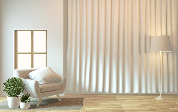 Interior design, vita moderna zen con poltrona e decorazione. rendering 3d