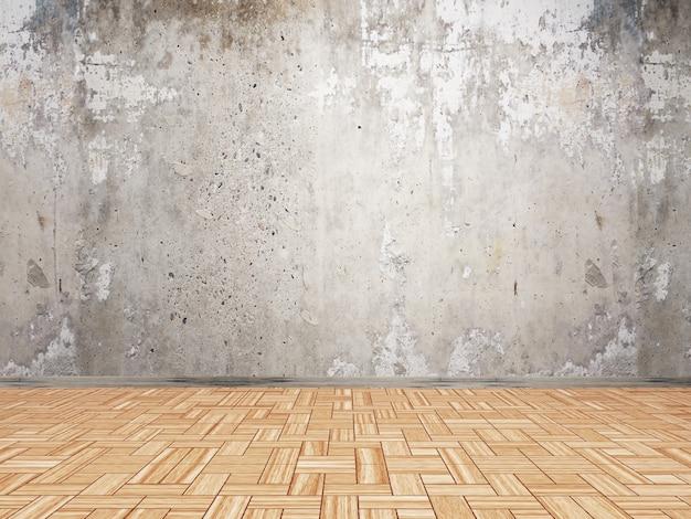 Interiore 3d con la parete del grunge e pavimento di legno del parquet