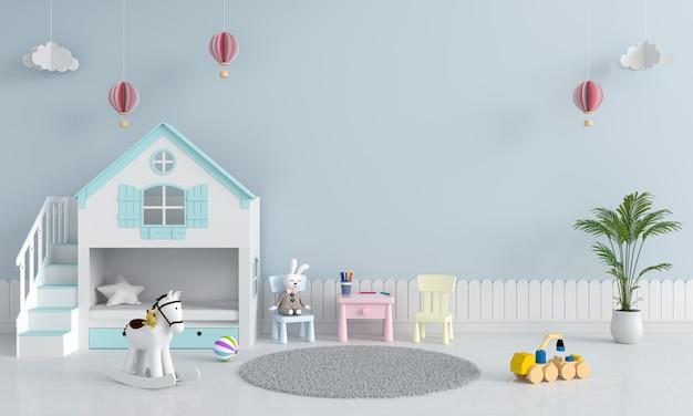 Interiore blu della stanza dei giochi del bambino per il modello
