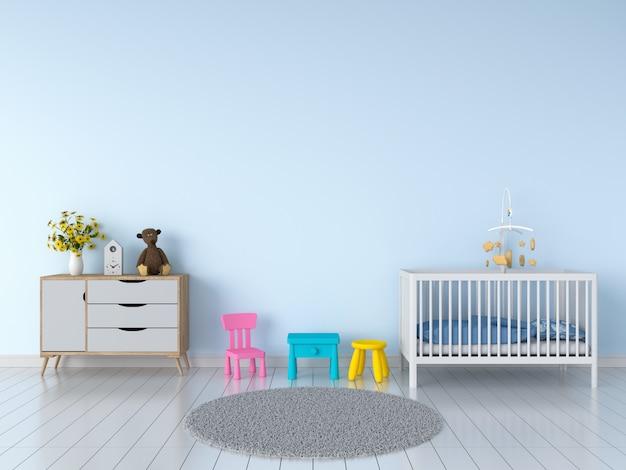Interiore blu della stanza del bambino per il modello