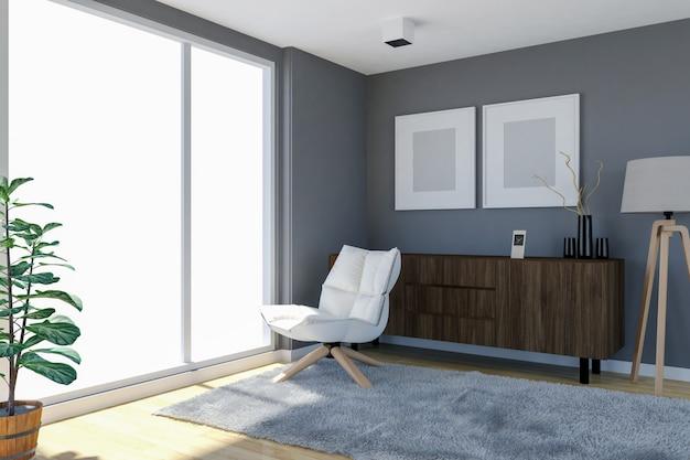 Interiore contemporaneo del salone con la parete grigia e le grandi finestre, rappresentazione 3d