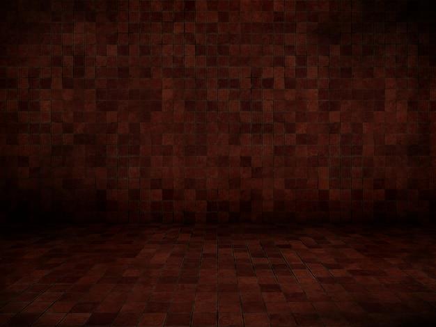 Interiore del grunge 3d con pavimento piastrellato e pareti