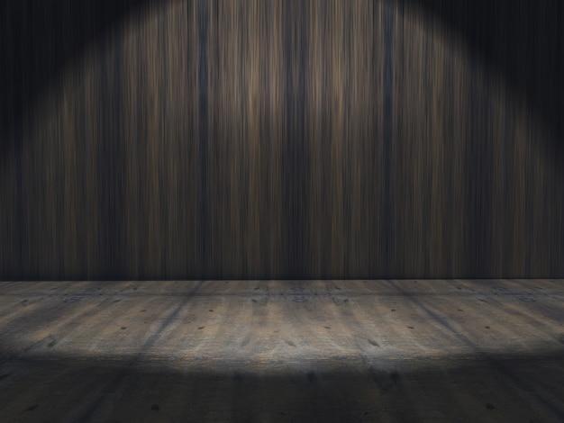 Interiore del grunge 3d con riflettori