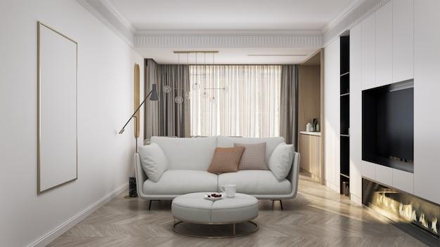 Interiore del salone con divano bianco, cuscini marroni e plaid