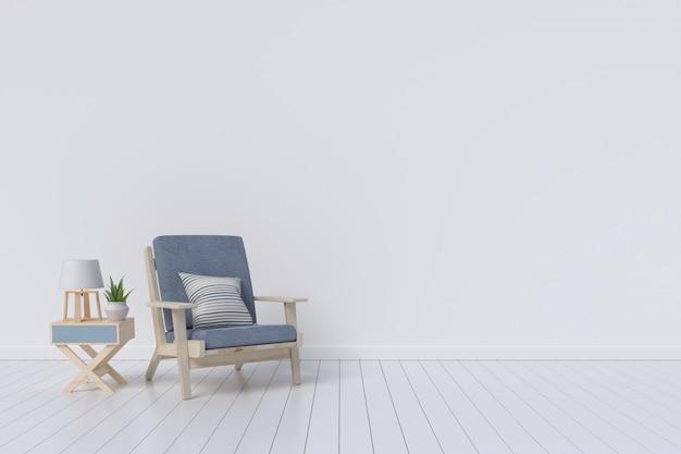 Interiore del salone con poltrona di velluto sul fondo della parete bianca. rendering 3d