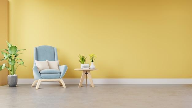 Interiore del salone con poltrona in tessuto, libro e piante su sfondo muro giallo vuoto.