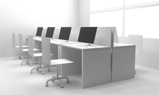 Interiore dell'ufficio. illustrazione 3d