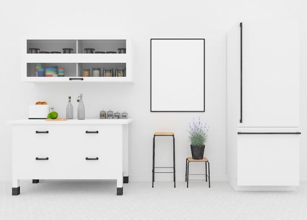 Interiore della cucina bianca - cornice vuota