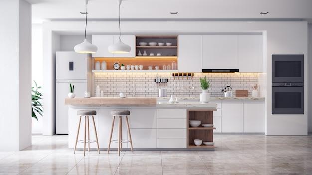 Interiore della stanza bianca accogliente cucina moderna