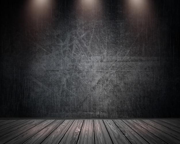 Interiore della stanza del grunge 3d con i riflettori che brillano giù