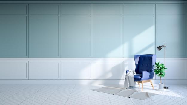 Interiore della stanza dell'annata, loungechair blu sulla parete lightblue e pavimentazione bianca