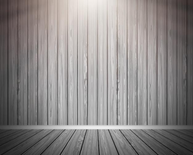 Interiore della stanza di legno del grunge 3d