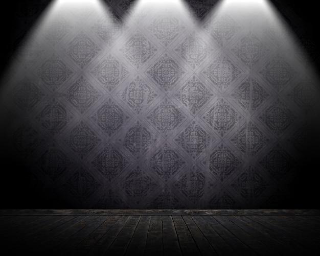 Interiore della stanza di stile del grunge 3d con i riflettori che brillano giù