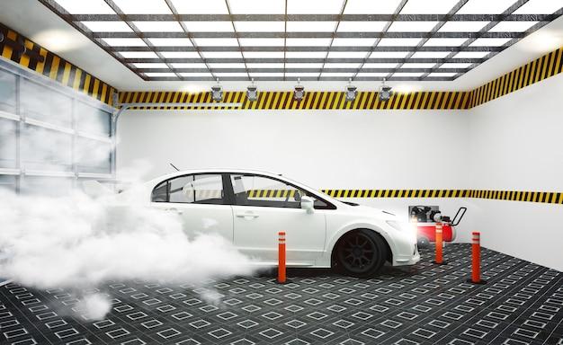Interiore di garege con l'automobile bianca e l'effetto del fumo sulla parete bianca della stanza e sul pavimento non tappezzato.