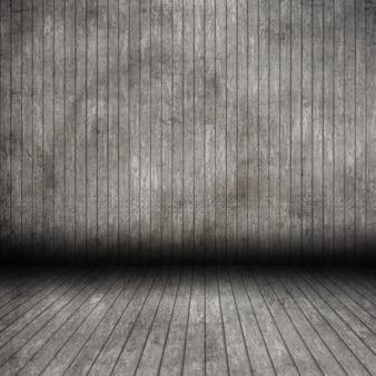 Interiore di legno della stanza del grunge 3d