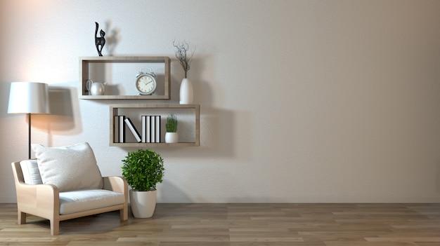 Interiore mock up con poltrona in soggiorno giapponese con parete vuota