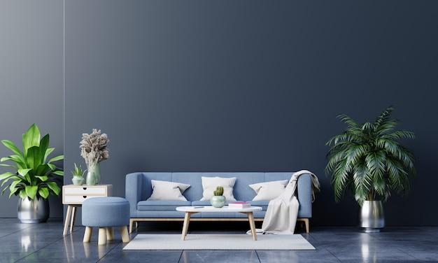 Interiore moderno del salone con divano e piante verdi, lampada, tavolo sulla parete scura