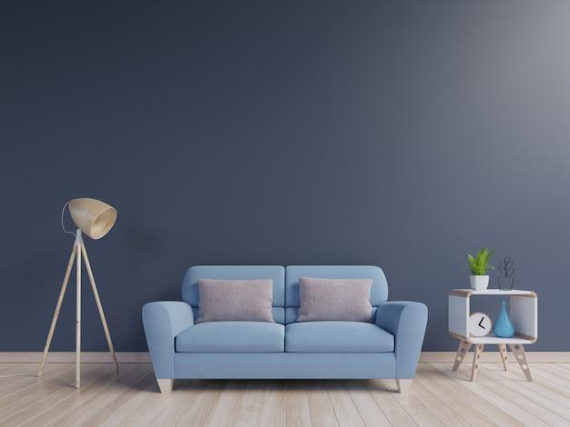Interiore moderno del salone con il sofà blu e le piante verdi, lampada, gabinetto sulla parete blu indietro