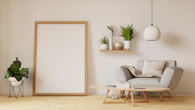 Interiore moderno del salone con il sofà e le piante verdi, lampada, tabella sul salone