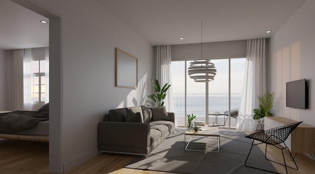 Interiore moderno del salone con il sofà e le piante verdi