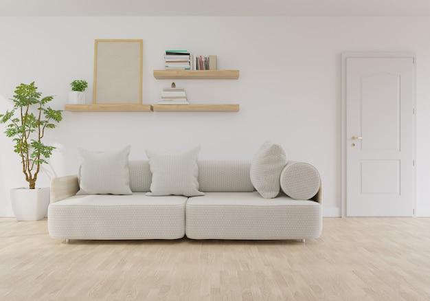 Interiore moderno del salone con il sofà sul colore di corallo vivente dell'anno 2019