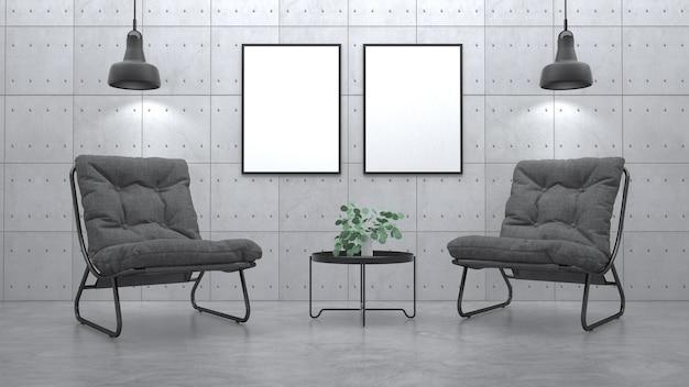 Interiore moderno del salone con la poltrona. rendering 3d