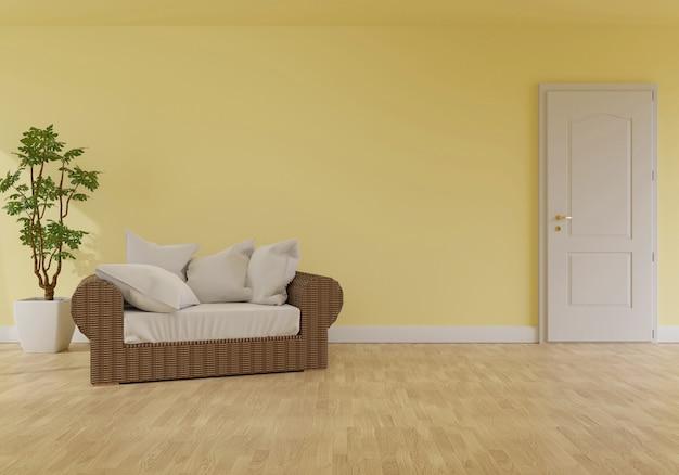Interiore moderno del salone con sofà sul colore di corallo vivente della rappresentazione di 2019.3d di anno