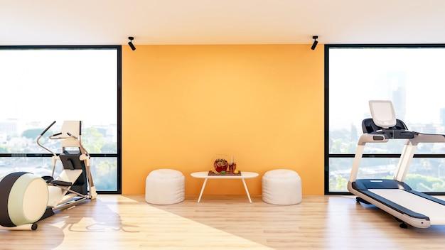 Interiore moderno della palestra con attrezzature sportive e fitness, interno del centro fitness con sgabello e tavolo con acqua infusa