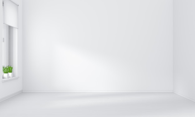 Interiore vuoto della stanza bianca per il modello