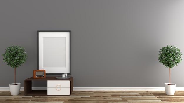 Interiore vuoto della stanza, priorità bassa nera della parete sul pavimento di legno. rendering 3d