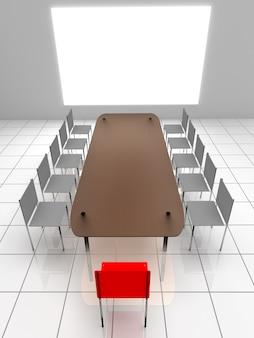 Interni 3d. sedie e tavolo