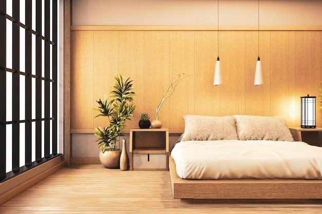 Interni camera da letto moderna di lusso in stile giapponese, finta, disegna la più bella. rendering 3d